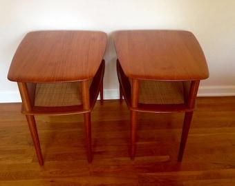 pair of Danish Modern Peter Hvidt teak end tables