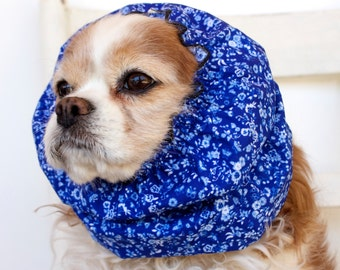 Tiny Blue Flowers Dog Snood, Cotton Long Ear Coverup, Cavalier King Charles or Cocker Snood
