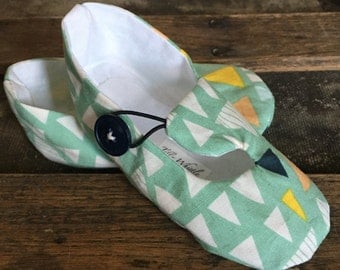 Mint Green Triangle Print Loafer Booties for Baby Girl or Boy - Baby Boy Shoes