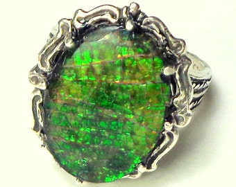 SALE, Rare Gemstone, Ammolite, Glowing Green, Dragon's Skin, Petrified Prehistoric Snail, Natural Gemstone, Collectors Stone