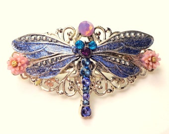 Dragonfly Crystal Barrette, Vintage Style, Hair Jewelry,Bride,Bridesmaids,Prom,Hair Accessories,Swarovski Crystal Barrette,Filigree Barrette