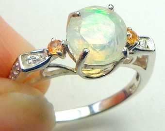 Welo Opal, Orange Sapphire Accents, Sterling Silver Ring, Ethiopian Opal Ring, Lavender,Yellow,Orange, Green Fire