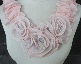 Cute embroidered   chiffon  flower  applique  pink   color