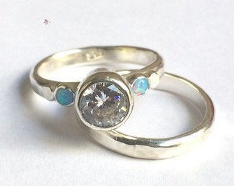 Bridal Set, Set Engagement Ring , anniversary gift, Wedding set, Unique ring, Opal ring, Lab Diamonds ring, 925 Silver sterling.