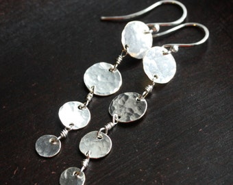 Long dangle disc earrings, silver filled, hammered, disk, chain, wire wrapped, metalwork, Mimi Michele Jewelry