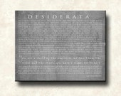 DESIDERATA Canvas Print - Contemporary Gallery-wrapped 20x24 - Motivational - Black Max Ehrmann