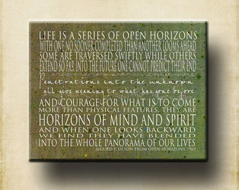 Open Horizons Sigurd Olson Contemporary 16x20 Gallery Mount Canvas - Motivational Inspirational Courage Quote