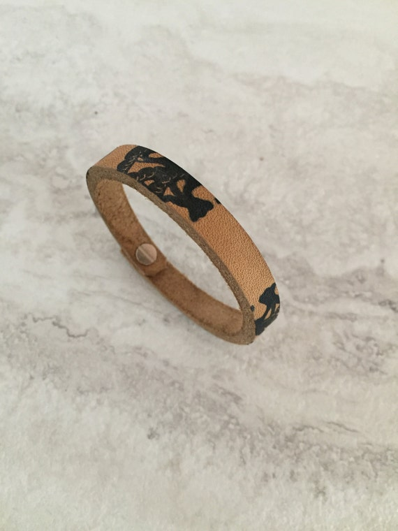 Handmade Women's Ink Hand Stamped Leather Bracelet