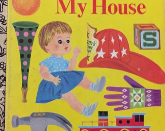 Things in My House Little Golden Book illustrated children reading book 1979 reprint Walt Disney Ad children reading home school illustrated