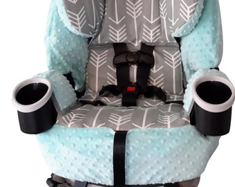 Graco 4ever All In One Carseat Cover, 4-1 Carseat - Grey Arrow with Aqua Blue Minky