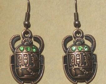 Copper Scarab Earrings