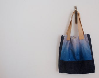 Ombre Library Tote Bag with Leather Handles