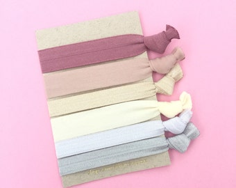 Neutral 6 Pack Matte Shiny and Blush Hair Ties