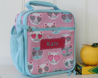 Lunch Bag With Monogram Classic Style Pottery Barn -- Pink/Aqua Cool Cat