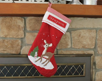 Rudolph Red Stocking Pottery Barn Quilted Stocking ---  Rudolph  ---  Free Monogram