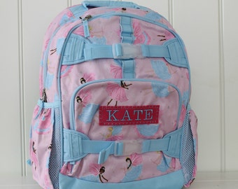 Small Size Pottery Barn Backpack With Monogram -- Pink Fairy