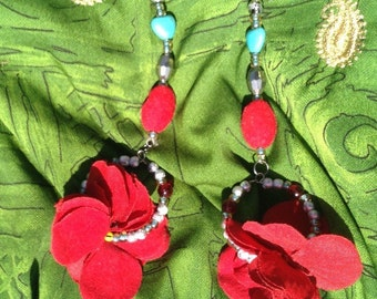 Zambia rudy red dangle earrings