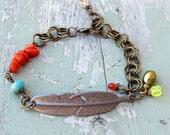 SALE Bohemian Style Metal Feather Bracelet Chain Link Jewelry Boho Bracelets Gifts for her Asymmetrical Jewelry Hippie Jewelry Gifts