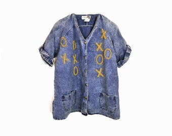 Vintage 80s Stonewashed Denim Shirt / Beaded XOXO Shirt