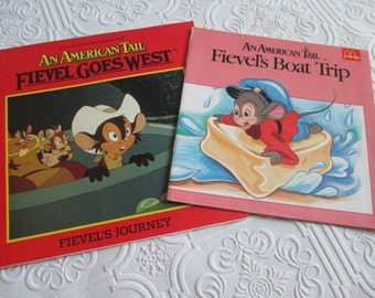 Fievel Goes West and Fievel's Boat Trip - Set of 2 Vintage Storybooks
