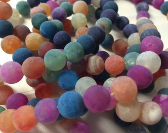 AGATE BEADS Natural Effervescence 5 Strands 10mm Round (190 Beads total) - lot of mixed colors