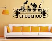 CHOOCHOO Cartoon Mural----Removable Vinyl wall decals stickers home decor Kids Nursery,Birthday gift,Anniversary,Xmas, Gift