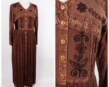 Hippie Boho Maxi Indian Embroidery Dark Brown Rayon Long Dress 90s Vintage MPH Medium