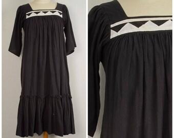 black 70s cotton Gauze Dress summer Boho Festival Short Sleeve Hippy caftan Dress XS Small