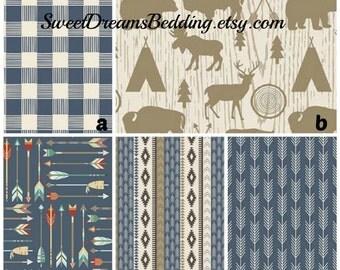 Custom Crib Bedding Adventure Blue and Tan Plaid Deer Arrow Tee Pee  Bumper,Skirt,Fitted Sheet,BlanketChanging pad