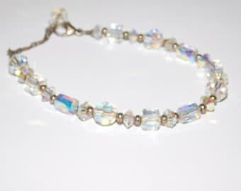 Vintage Crystal Cut glass Aurora Beaded Bracelet