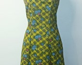 ON SALE 30% OFF Vintage 1960s Wiggle Dress - Yellow and Red Floral Print