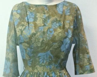 SUMMER HEAT SALE Vintage 1950s Party Dress - Butterscotch and Blue Floral Dress