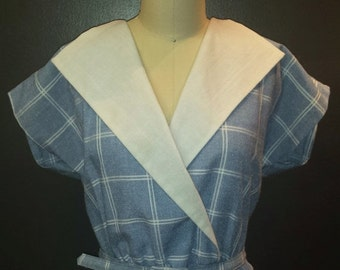 30% HEART DAY SALE Vintage 1970s Day Dress - Light Blue and White Checked Print