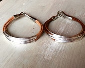 Small, silver plated leather tube bracelets