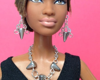 Handmade Barbie doll jewelry set silver with silver spike beads - Made to Order