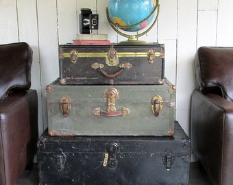 "1930s Metal Sided Suitcase with Leather Handle ""Lots of Character - Perfect Stacker"""