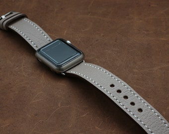 TAUPE Hand Stitched Apple Watch Band in taupe (Etoupe)