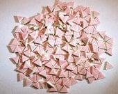 Mosaic tile -100 Micro Mosaic tiles- 1/2 tiles-PINK triangles, handmade ceramic