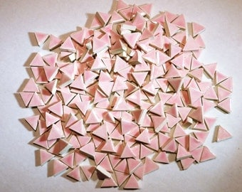 Mosaic tile -100 Micro Mosaic tiles- 1/2 tiles-PINK triangles, handmade ceramic