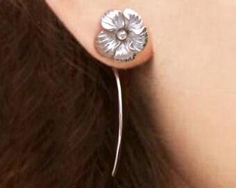 Hawaiian Hibiscus flower earrings sterling silver earrings jewelry dangle earrings cute small stud earrings long stem earrings unique E-196
