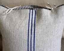 Grain Sack Pillow Cover// Blue Stripe Grain Sack Pillow // Vintage ticking // Grain Sack