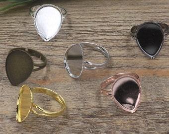 20 Teardrop Ring Base- Brass Silver/ Gold/ Rose Gold/ White Gold/ Gun-Metal Plated Ring W/ 13x18mm/ 18x25mm Teardrop Bezel Setting- Z5950