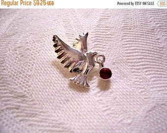 SALE Flying Bird Tac Pin Brooch Silver Tone Vintage Avon Round Red Berry Dangle