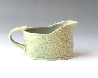 Pale green celadon gravy boat with Australian Flannel Flowers