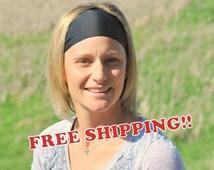 FREE SHIPPING  Performance Headband   Black Headband   Solid Black   Workout Headband   Fitness Headband   Yoga Headband   Buy 3 Get 1 FREE