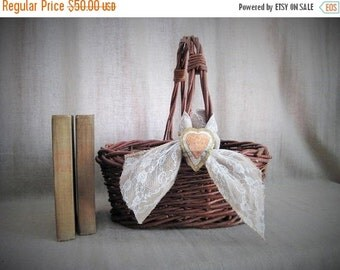 Happy 4th with 40% Off Rustic Basket with Burlap, Lace and Heart for Wedding/Reception Decor / Program Basket / Favor Basket / Vineyard/Farm