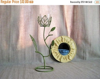 Happy 4th with 40% Off Green Leaf Candle Holder / Tall Votive Candle Holder in Green Ivy