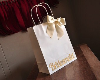 Bridesmaid Gift Bags.  Handcrafted in 2-3 Business Days.  Large White Paper Bags with Handle.  Bridesmaid Gift Ideas.