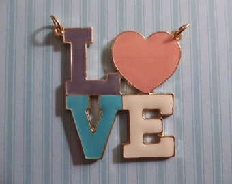 Large Colorful Retro LOVE Pendant in Gold & Enamel - Big Block Letters with Heart as Letter O - Qty 1