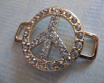 Large Retro Peace Sign Connectors in Gold with Rhinestones - Peace Symbol Bracelet Connectors - Qty 1